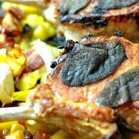 Schweinekotelett | Aprikose | Schinken | Kartoffel | Pancetta